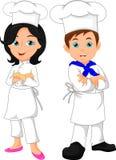 Boy and girl chef cartoon. Vector illustration of boy and girl chef cartoon royalty free illustration