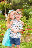 The boy and girl child with aqua make-up on happy birthday. Celebration concept and childhood, love Stock Image