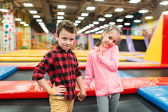 Boy and girl in childrens entertainment center Royalty Free Stock Photography