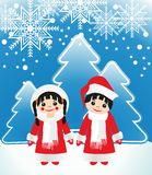 Boy girl in Christmas dress Royalty Free Stock Photo