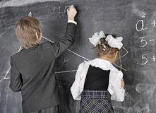 Boy and girl in the classroom Stock Image