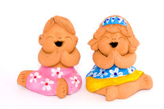 Boy and girl of clay figurine Stock Photography