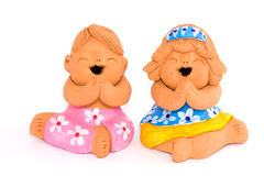 Boy and girl of clay figurine Royalty Free Stock Photography