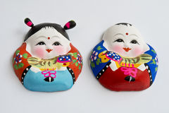 Clay figurines. A boy and a girl clay figurines Royalty Free Stock Photography
