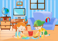 Boy and girl cleaning the floor. Illustration Royalty Free Stock Photography
