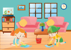 Boy and girl cleaning floor royalty free illustration