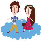 Boy and girl on a cloud. Boy and girl are holding hands on the cloud Royalty Free Stock Photos