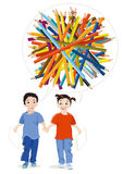 Boy, girl and colored pencils Royalty Free Stock Photos