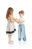 The boy and the girl with colors Royalty Free Stock Photo