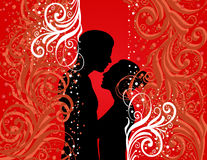 Boy and girl on colour background Royalty Free Stock Photography