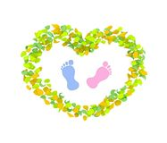 Boy or Girl concept made of spring leaves. Heart with children footprints in the center over white background. High quality render stock illustration