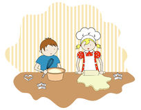 Boy and girl cooking. A vector illustration with children rolling the cookies Royalty Free Stock Image