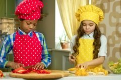 Boy and girl cooking. Royalty Free Stock Photography