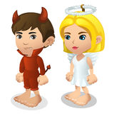 Boy and girl in costume of demon and angel Stock Photo