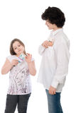 Boy with girl count money Stock Photo