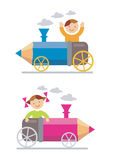 Boy_girl_crayon_locomotive. Small boy and girl ridden on the crayon-locomotive Royalty Free Stock Image
