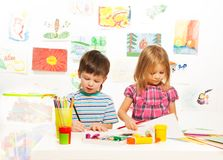 Boy and girl on creative lesson Royalty Free Stock Photo