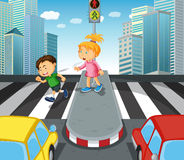 Boy and girl crossing the street Stock Photo
