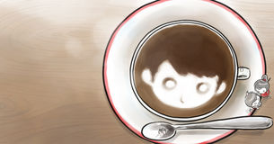 Boy and girl with a cup of coffee on table. Illustration of Small Umbrella in jpg file Royalty Free Stock Image