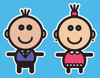 Boy and girl. Cute simple illustration with boy and girl Royalty Free Stock Photos