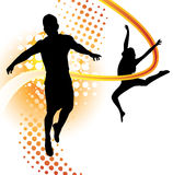 Boy and girl dancing. Boy and girl silhouettes dancing and jumping Stock Images
