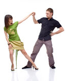 Boy and girl dancing. On white background Royalty Free Stock Photos