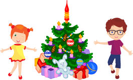 Boy and girl dancing around the christmas tree. Vector cartoon illustration Royalty Free Stock Photo