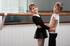 Children dancing in a ballet barre Royalty Free Stock Image