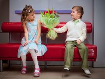 Boy and girl on the date Royalty Free Stock Image