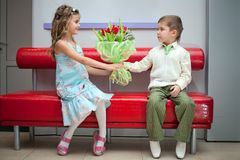 Boy and girl date Royalty Free Stock Image