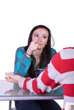 Boy and Girl on a Date Fighting Stock Images