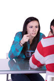 Boy and Girl on a Date Fighting Stock Photo