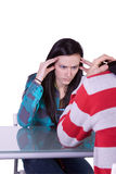 Boy and Girl on a Date Fighting Stock Photography