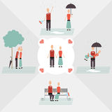 Boy and girl date. Under the rain Royalty Free Stock Photos