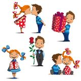 Boy and girl in different positions. Girl and boy are standing, sitting, kissing, give gifts and flowers Royalty Free Stock Image