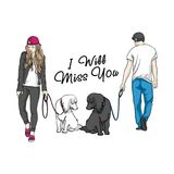 The boy and the girl divorced and their dogs remain loyal to each other. Love Story. The boy and the girl divorced and their dogs remain loyal to each other. Two Stock Photos