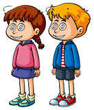 Boy and girl with dizzy face Royalty Free Stock Photos