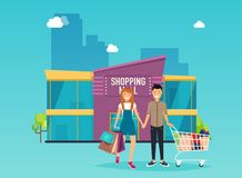 Boy and girl do shopping. Shopping mall building exterior. Flat. Design style modern vector illustration concept Stock Photos