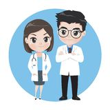 Male and female doctors cartoon characters royalty free illustration