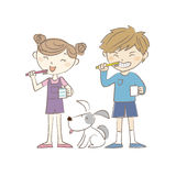 Boy, girl and dog brushing teeth together Stock Images