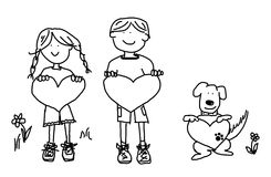 Boy girl dog cartoon outline with heart shape. Fun boy, girl and dog cartoon outline holding blank heart shape signs Royalty Free Stock Images