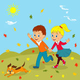 Boy, girl and dog running. And waving their hands against the backdrop of autumn leaves falling , illustration, vector Stock Image