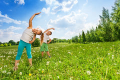 Boy and girl doing gymnastics on a meadow Stock Photography