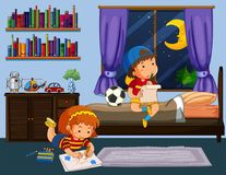 Boy and girl doing homework in bedroom. Illustration Stock Photography