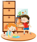 Boy and girl doing housework together. Illustration Royalty Free Stock Image