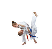 Boy and girl doing judo throws Stock Photography