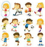 Boy and girl doing many activities Stock Photo