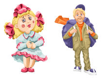 Boy girl doll tourist clipart cartoon style  illustration Royalty Free Stock Photos