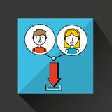 Boy and girl draw download social media. Vector illustration eps 10 Stock Image
