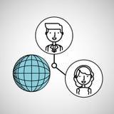 Boy and girl draw globe social media. Vector illustration eps 10 Royalty Free Stock Photography